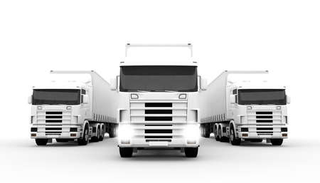 White transport trucks isolated on a white background photo