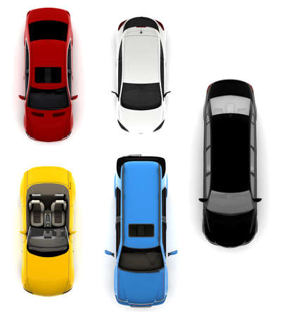yellow roof: Collection of different colorful cars isolated on a white