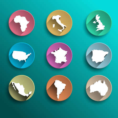 Vector set of 9 icons flat world with long shadow Vector
