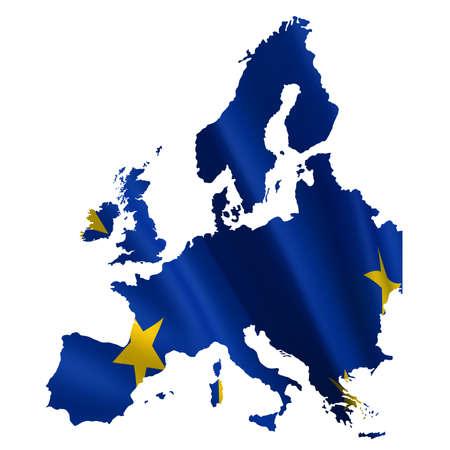 European map with euro flag on a white background photo