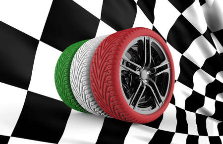 Colorful tires formation isolated on a checkered flag photo