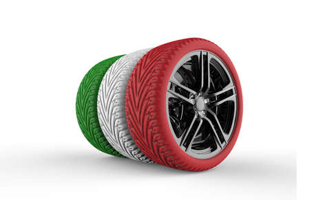 Colorful tires formation isolated on a white background