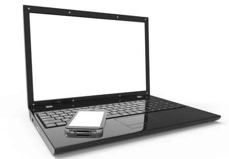 Laptop, and mobile phone with a blank screen. photo