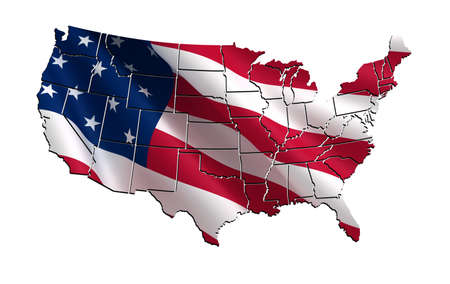 3D  map of the USA (United States of America) photo