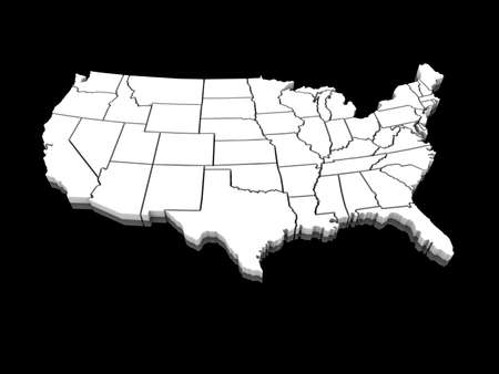 the united states: 3D white map of the united states of america
