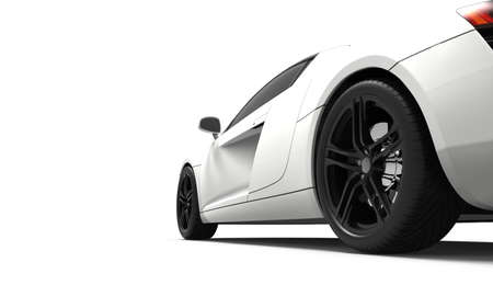Modern white car isolated on a white background photo