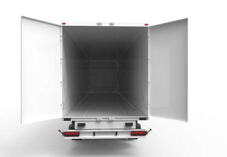 containers: Back white truck with open empty trailer
