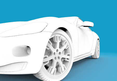 3d rendering of a brandless generic white toon car photo