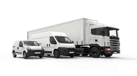 van: 3D rendering of a truck, a van and a lorry isolated on a white background