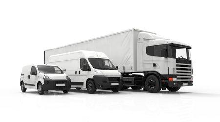 infraestructura: Representaci�n 3D de un cami�n, una camioneta y un cami�n aislado en un fondo blanco
