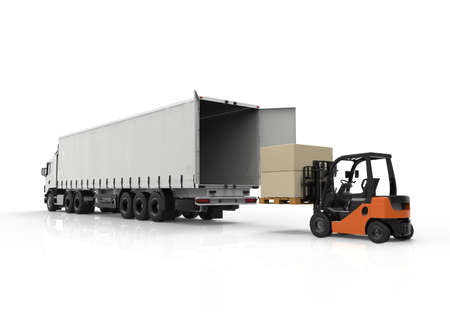 containers: 3d render of forklift loading a truck