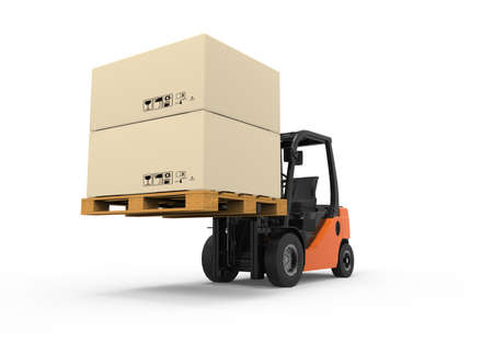 3D Forklift truck with boxes on pallet Stockfoto