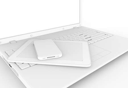 toon: Pc, tablet and phone toon isolated on a white background