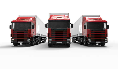 autotruck: 3D Render of a Fleet of Delivery Vehicles Stock Photo