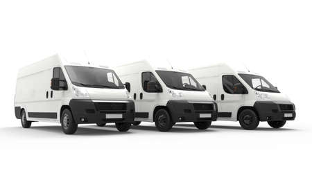 courier: 3D rendering of vans isolated on a white background
