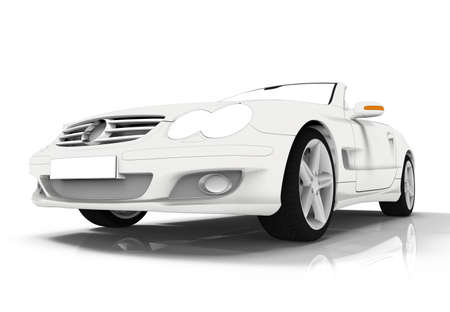 3d rendering of a brandless generic white toon car