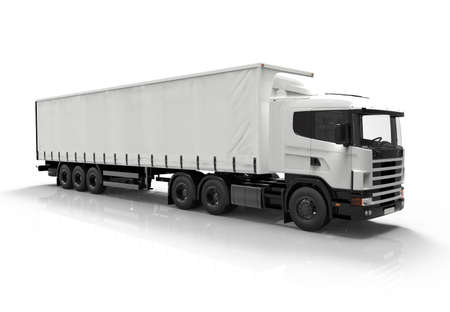 白い背景に分離された 3 D の白いトラック