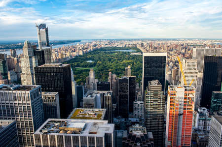 exterior wall: Central Park aerial view, Manhattan, New York; Park is surrounded by skyscraper