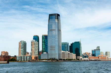 New Jersey Hoboken skyline with skyscrapers over Hudson River.