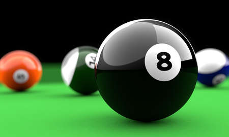 billiard balls: Billiard balls on a green table with the black one in front