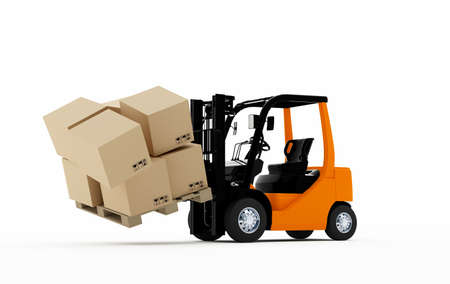 3D Forklift truck with cardboard boxes falling