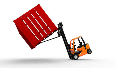 moving crate: 3D Forklift truck with a red container falling