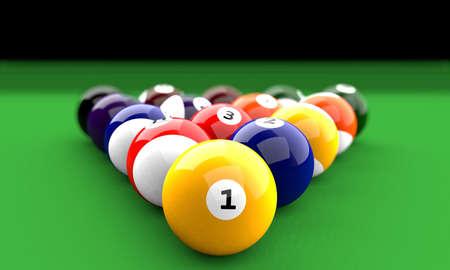 snooker balls: All Snooker balls in formation on a green table