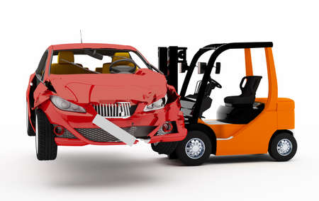 forklift truck: 3D Forklift truck with a red car accident Stock Photo