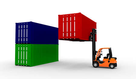 forklift truck: 3D Forklift truck with containers
