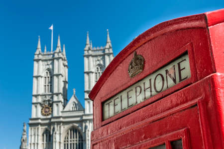 abbey: Red Telephone Booth and Westminster Abbey in London