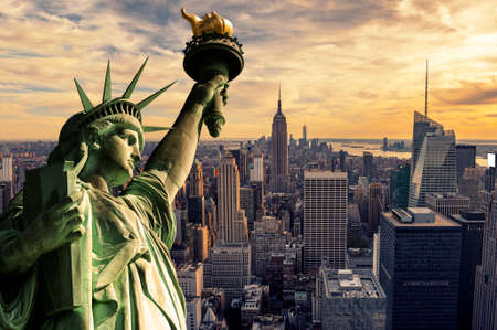 Het Statue of Liberty en New York City skyline in donker Stockfoto - 40717237
