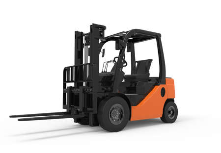 3D forklift truck isolated on a white background Foto de archivo