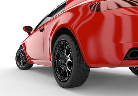 white car: Back of a generic red sport car isolated on a white background Stock Photo
