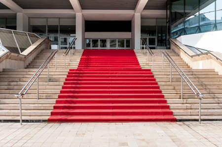 red carpet event: Red carpet over stairs in cannes city