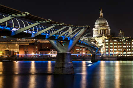 millennium bridge: St. Paul Cathedral and Millennium Bridge in London