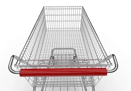 empty shopping cart: Empty shopping cart isolated on a white background Stock Photo