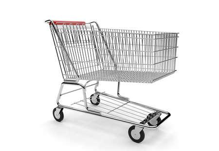 carretilla de mano: Carro de compras vacío aislado en un fondo blanco Foto de archivo