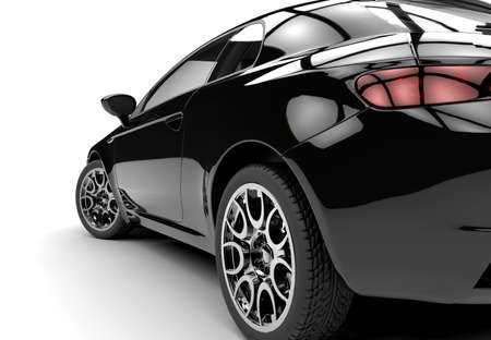 Back of a generic black sport car isolated on a white background Stockfoto