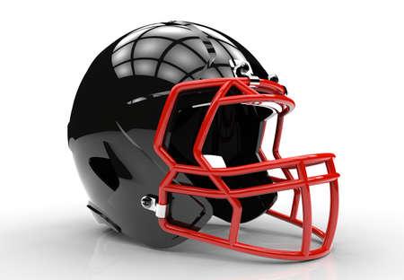 casco rojo: casco de fútbol americano negro aislado en un fondo blanco