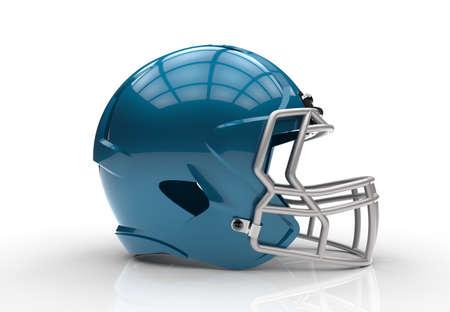 白い背景に分離された青いアメフト ヘルメット