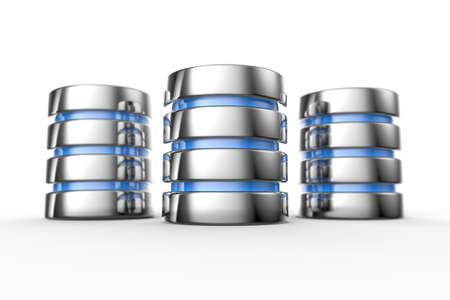 database: Hard disk and database icon isolated on white background
