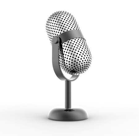 internships: Vintage silver microphone isolated on white background