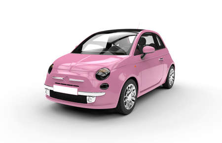 new motor car: Front of a generic pink city car isolated on a white background