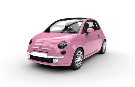 pink: Vor einem generischen rosa Stadt Auto isoliert auf weißem Hintergrund Lizenzfreie Bilder