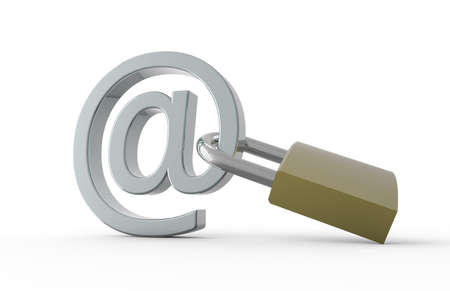 arobas: Padlock with e-mail symbol: Safe internet concept Stock Photo