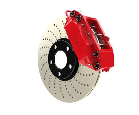 brake disc: Brake disc and red caliper from a racing car isolated on white background