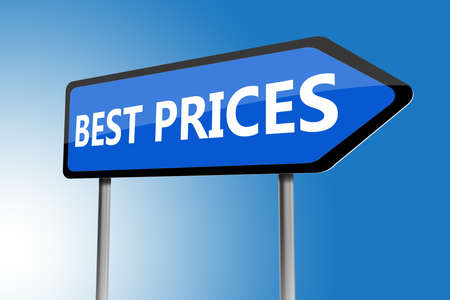 promised: Illustration of best prices directions sign on a blue sky
