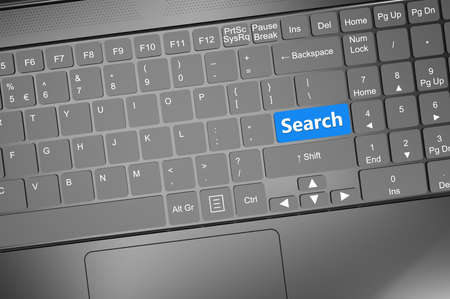 teleworker: Keyboard with search text: 3D render illustration