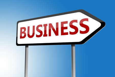 entrepreneurial: Illustration of business directions sign on a blue sky Stock Photo