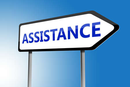 guides: Illustration of assistance directions sign on a blue sky Stock Photo